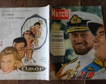 Vintage Français Paris Match Magazine N° 410 l'aventure Chez Les Russes spécial vers Fevrier 16 février 1957 / anglais boutique