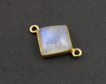 Natural Rainbow Moonstone Faceted Cushion, Gold Vermeil , Incredible Blue Fire,19mm,1 Piece, (BZCT1200)