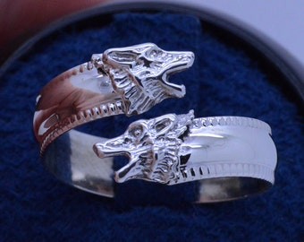 Howling Wolves Sterling Silver Adjustable Spoon Ring Unique handmade upon order