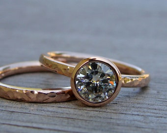 Engagement & Wedding Ring Set - Forever One GHI Moissanite and Recycled 14k Rose Gold, Made to Order - Eco-Friendly Diamond Alternative