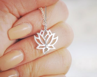 Renge Necklace - Solid 925 Sterling Silver Lotus Flower Feng Shui Lian Hua Charm Pendant - Insurance Included