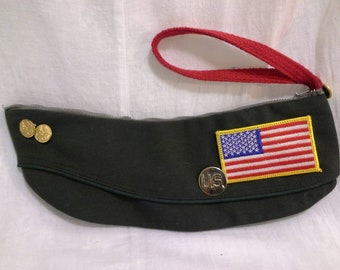 OOAK Recycled Military Garrison Cap Wristlet Purse