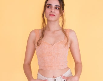 Vintage inspired bustier top|corset crop top| lace up top with adjustable tie| lace up bodice