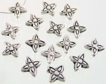 10 pearls 6mm silver stars