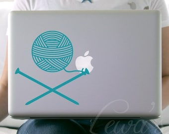 Knit Needles and Yarn Laptop / Macbook / Notebook Computer Decal Sticker