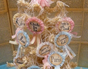 French Marie Antoinette Ornaments Star Pattern - pdf ribbon ornies eiffel tower let them eat cake  tags pin badge party streamer doll