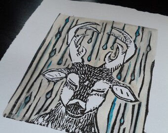 """Deer Linocut Print """"Hesitant"""""""