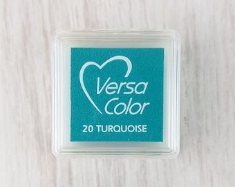 VersaColor Pigment Ink Pad Small in Turquoise - Blue Inkpad - Ink for stamp - Bright Blue - Versa Color - Colour Ink Pad - Light Blue