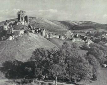 Corfe Castle Dorset 1950s vintage Print photograph Vintage ephemera  old print Landmarks Castle print