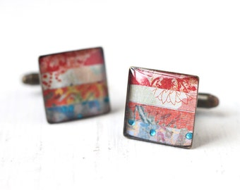 Red and Blue Cufflinks, Stripes Square Cuff Link for Men, Women, Groom and Groomsmen, Wedding Accessory