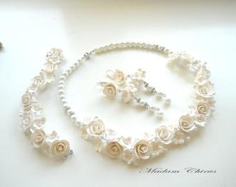 Wedding jewelry set necklace, earrings, bracelet