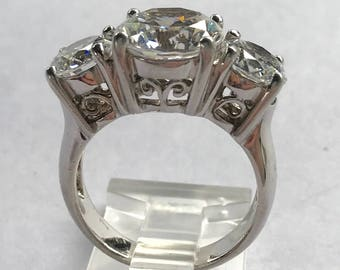 Estate Sterling Silver 3 Stone CZ Statement Ring Size 7