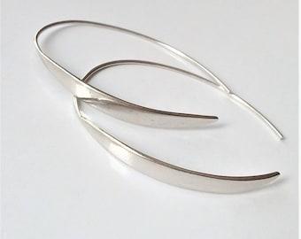 Sterling Silver Open Hoop Earrings, Silver Threader Earrings, Minimalist Earrings, Simple Everyday Earrings, Fun Earrings.