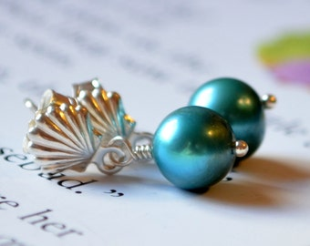 Child's Pearl Earrings, Seashell Ear Posts, Sea Shell, Real Freshwater, Teal, Sterling Silver, Flower Girl Jewelry, Beach Wedding