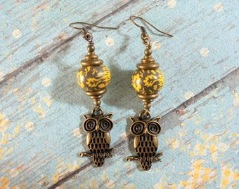 Brown, Chartreuse Green and Brass Owl Earrings (4063)