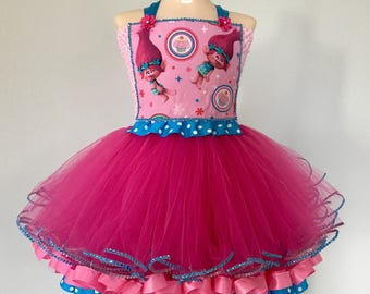 Trolls tutu, trolls dress, trolls costume, poppy tutu, poppy costume, poppy dress, trolls party, trolls birthday, ribbon tutu, tutu costume
