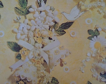 Vintage 1970s Wedding Wrapping Paper Lacy Yellow & White Floral Print--1 sheet  Gift Wrap Wedding