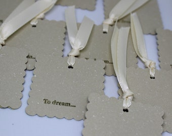 To Dream... Set of 12 Square Gift Tags in tan and gold, ivory ribbon