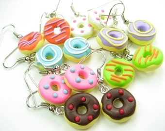Donut Earrings (7 pairs), bulk gifts, food jewelry, food earrings, donut jewelry, cute kawaii charms, pink, blue, chocolate, purple doughnut