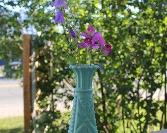 Turquoise flower candle holder - verre-Vintage-Turquoise-chandelier-fleurs-bougies-plage Vase vase
