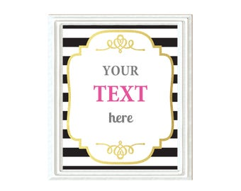 Editable pdf Black Stripe & Faux Gold Blank Sign, 6 extra colors, DIY Printable Sign, Wedding Shower, Baby Shower Instant Download 8x10