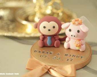 monkey and pig wedding cake topper