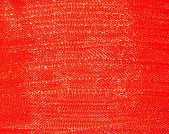 1 meter 8mm wide red organza Ribbon