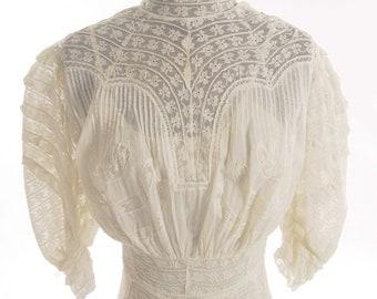 Restored Victorian White Batiste Wedding Gown/ Graduation Dress. Size 4 - item 114, Victorians