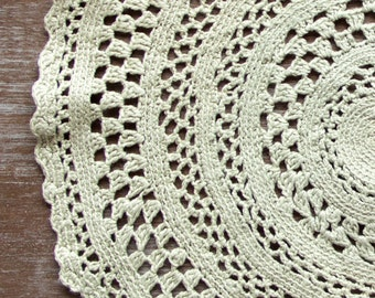 Light Green crochet Vintage Doily hand dyed doily