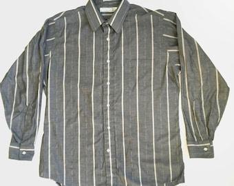 Vintage Western Button-Up - Van Heusen - Gray - Diamonds & Stripes