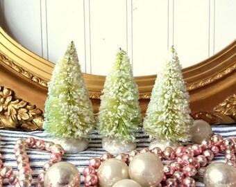 "3  bottle brush trees green vintage style mica glittered 4"" tree  Farmhouse Shabby Cottage Christmas Holiday decor"