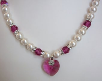 Swarovski Pearl and Crystal Necklace - White Swarovski Pearls and Fuchsia Crystal Heart Set - Weddings, Brides, Bridesmaids