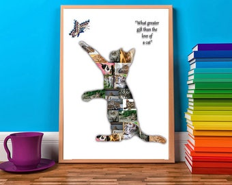 Cat Photo Collage Cat Memorial Cat Lovers Kitten Custom Silhouette  Customised Print Only