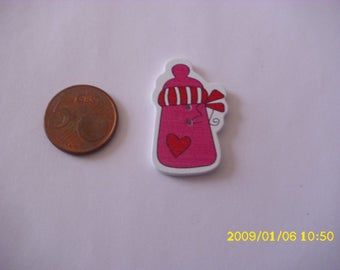5 buttons wood 3.6X2.3cm pink milk bottle (2 holes)