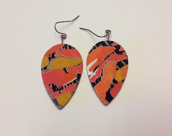 Orange and gold collage earrings