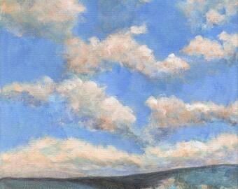 Original Landscape Painting on 8x8 Canvas Clouds Valley Hills Oak Trees Blue
