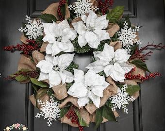 White Velvet Poinsettia Wreath, Winter Holiday Wreath, Christmas Burlap Wreath, Faux Poinsettias and Red Berry Wreath, Rustic Elegance