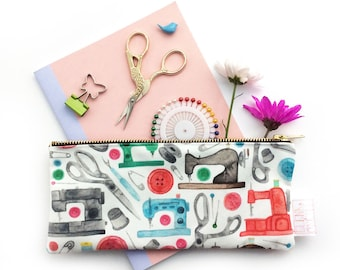 Sewing Pouch, Gift For Her, Gift For Crafter, Seamstress, Pencil Case, Cosmetic Bag, Sewing Travel Kit, Pouch, Small Bag, Clutch, Purse, Bag