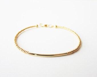 Gold bar bracelet - Gold beaded bracelet