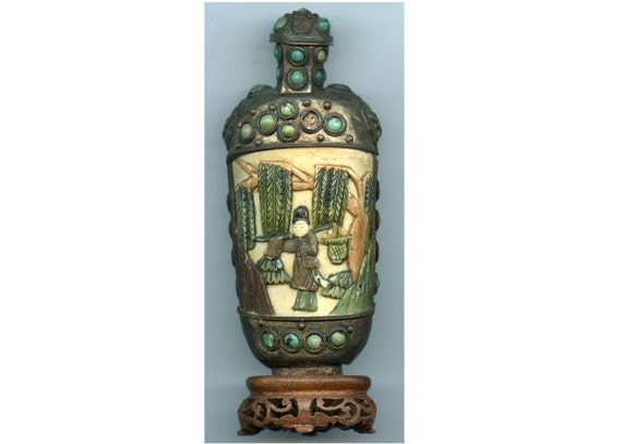 FREE SHIPPING-Antique-19TH Century-Chinese-IvoryCarved-Bronzed Overlay-Turquoise Jewels-Rosewood Base-Silver Scoop-Snuff Bottle
