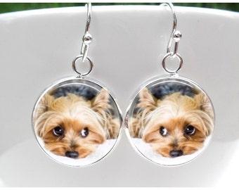 Yorkie Earrings - Yorkshire Terrior Earrings for little girls - Dog Earrings - Sterling Silver Posts - lever backs - sterling french hooks