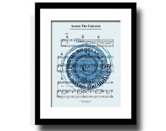 Across The Universe Song Lyric Sheet Music Art Print, Star Constellation Art Print, Spiral Song Lyric Art