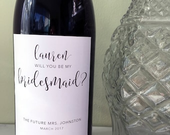 Personalized Wine Tags - Will you be my bridesmaid, maid of honor, matron of honor - Weatherproof adhesive labels