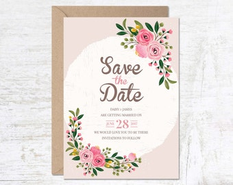 Save The Date Cards, Save the Date Printable, Save the Date Template, Save the Date Rustic, Summer Save the Date, Flower Save the Date