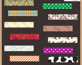 Digital Scrapbook Pack - TAPE LABELS - Fabric Texture - Instant Download
