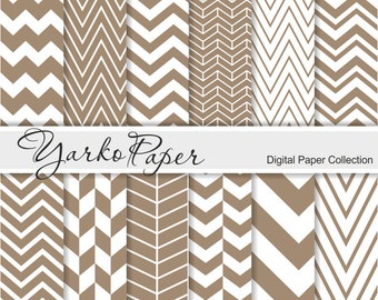 Brown Chevron Digital Paper Pack, Chevron Scrapbook Paper, Digital Background, 12 Sheets, Personal And Commercial Use - Instant Download