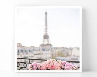 Paris Photography - Rose Filled Balcony with the Eiffel Tower, 5x5 Paris Fine Art Photograph, French Home Decor, Wall Art, Gallery Wall