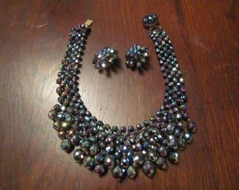Italian Bib Necklace with AB Black Beads
