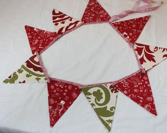 Fabric bunting banner, Christmas banner, flag banner, bunting banner.