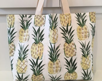 Reversible Pineapples Tote/ Beach Bag/ Market Tote